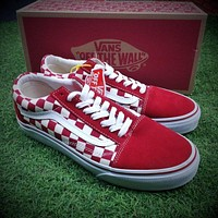 Sale Vans Old Skool Primary Check Red White Sneakers Training Shoes VN0A38G1P0T