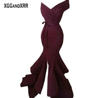 Sexy Burgundy Mermaid Prom Dresses V Neck Backless Front Slit Long Evening Dress Formal Party Gowns Elegant Woman Plus Size