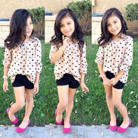 2pcs Set Baby Kids Girls Simple Long Sleeve T-Shirt Top + Shorts Outfit