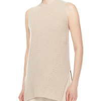 Sleeveless Merino/Cashmere Ribbed Top, Stone, Size: