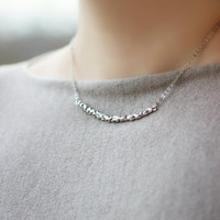 Silver Tone Necklace, Pendant Necklace, Short Necklace,Minimalistic Necklace, Metal Necklace,Bar Necklace,Everyday Necklace,Modern Jewelry