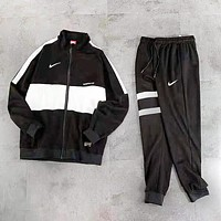 NIKE New fashion hook print long sleeve top and pants two piece suit Black
