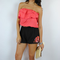 (anh) Twill ruffle orange tube top with chiffon bow tie back