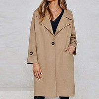 Loose Khaki Solid Coat Blends Women Coats Ladies Trench Elegant Turn Down High Fashion Long Coat