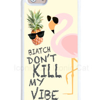 Pink flamingo and pineapple design iPhone case