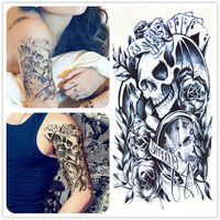 2016 new waterproof temporary tattoo stickers couple skull watch poker arm Decal body makeup