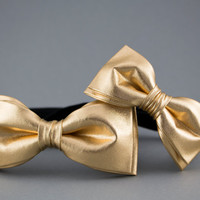 Gold Bow Ties for Father & Son, Daddy Son Bow Tie, Father Son Gift, Gift for Father, Baby Bow Tie, Gold Shiny Bow Tie, Kids Bow Tie for Men
