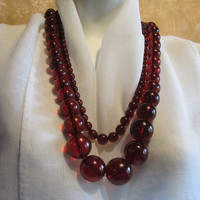 100% #Antique #Amber #Bakelite set of two #Necklaces weight 199.6 gr. opera old long huge #red #cherry transparent #round beads for #adult