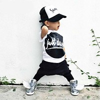 arrival baby boy's clothes letter printed shirt + pants children clothing kids clothes