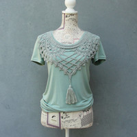 Seafoam Green Mint T-shirt with Vintage Handmade Lace, Bohemian Top Size Medium