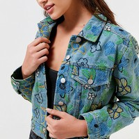 UO Floral Embroidered Trucker Jacket | Urban Outfitters
