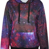 Essential Red Galaxy Print Hoodie - OASAP.com