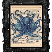 Upcycled Dictionary Page Upcycled Book Art Upcycled Art Print Upcycled Book Print Vintage Art Print Ocean Blue Octopus