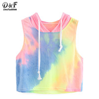 Dotfashion Womens Casual Multicolor Top New Arrival Summer Style For Girls Rainbow Ombre Hooded Crop Tank