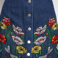 Denim Floral Embroidery Flared Skirt