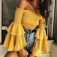 Fashion Women Summer Stretch Flared Sleeves Off Shoulder Top