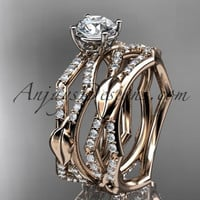 """14k rose gold diamond leaf and vine wedding ring, engagement set with a """"Forever One"""" Moissanite center stone ADLR353S"""