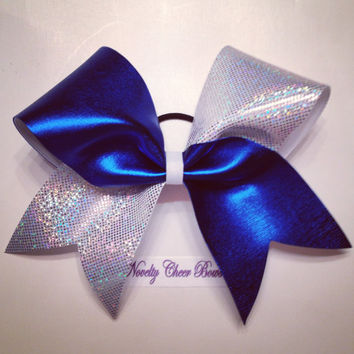 Royal Wet Look and White with Silver Foil Tic Toc Cheer Bow