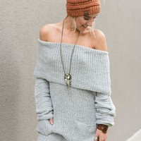 Winter Chill Off The Shoulder Sweater Dress