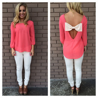 Coral Ally Bow Back Chiffon Blouse