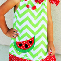 Girls Watermelon Dress - Watermelon Pillowcase Dress - Girls Chevron Dress - Girls Summer Dress - Girls Watermelon Outfit - Red and Green
