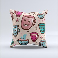 Smiley Coffee Mugs  Ink-Fuzed Decorative Throw Pillow