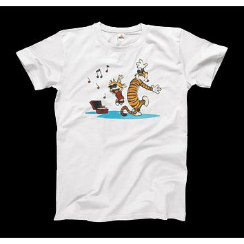 Calvin and Hobbes Dancing with Record Player T-Shirt