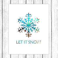 Let it snow print - printable Christmas quote art - Christmas decor - winter printable wall art - Christmas poster art - DIGITAL DOWNLOAD