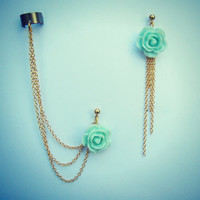 mint rose ear cuff and earrings, chain ear cuff, ear cuff with gold chains, asymmetrical earrings