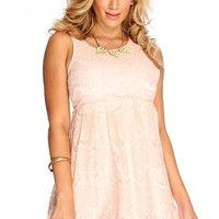 Dusty Pink Sleeveless Lace Cut Out Back A-Line Dress