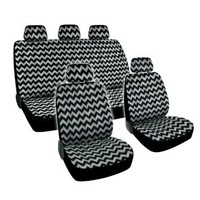 Chevron Grey Car Seat Cover Combo - Low Back 9pcs