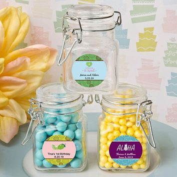 Personalized Gift: Apothecary Glass Jar - Tropical Glass Sandy Jars