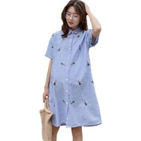 Stripe Short-sleeved Maternity Shirt Embroidery Plus Size Tunic for pregnant women ropa mujer Pregnancy tops for pregnant women