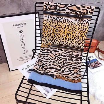Spring Summer Women Temperament Fashion Double-Sided  Leopard Print Print Spell Color Stripe Silk Scarf Shawl