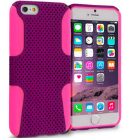 Hot Pink / Purple Hybrid Mesh Hard Soft Silicone Case Cover for Apple iPhone 6 Plus (5.5)