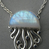 One of a Kind Sterling Silver Rainbow Moonstone & Blue Sapphire Jellyfish Pendant