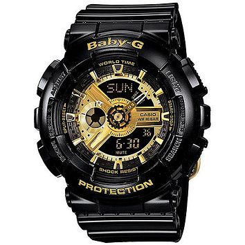 Casio Baby-G Ladies Analog-Digital - Black & Gold 3D Face - Resin Case & Strap