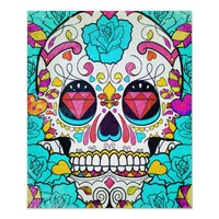 Hipster Sugar Skull and Teal Blue Floral Roses Poster from Zazzle.com