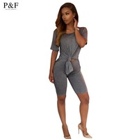 Summer bodycon Jumpsuit Romper Women 2 Pieces shirt short Sleeve Bodysuit Casual Playsuits Overall short Pants cotton pink/gray