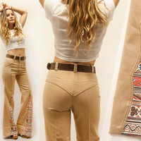 Rare 70s Khaki High Waisted Bell Bottom Jeans | Womens Small 25 XS 60s Western Flared Bell Bottoms | 1960s Pants Retro Tribal Southwestern