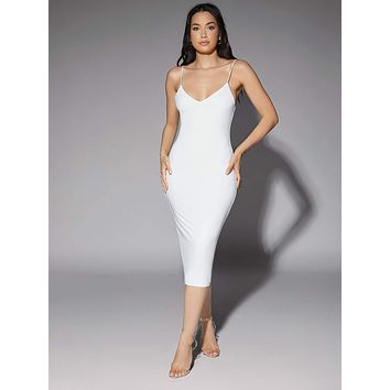 SHEIN Solid Backless Bodycon Dress