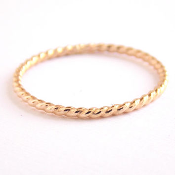 Gold-filled Simple Twist Ring -  14K Gold-filled ring, dainty ring, simple ring, stacking ring, skinny ring, gold ring, small ring