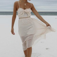 Hands Tied Natural Front Tie Midi Dress