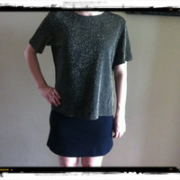 1980s Gold and Black Shimmer Blouse