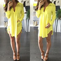 Yellow Irregular Draped Pockets Turndown Collar Oversize Mini Dress