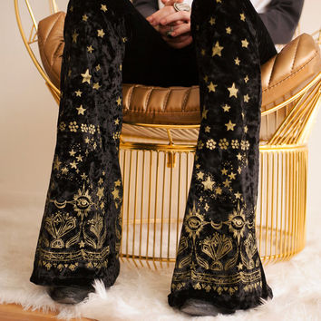 Black velvet, bell bottoms, gold pants, magic pants, hand drawn, vintage inspired, crushed velvet bells, metallic ink, witch, boho, gypsy