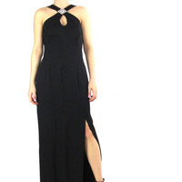 90s Black Prom Dress Evening Gown Floor Length Maxi Dress Keyhole Sparkly Rhinestone Brooch Criss Cross Straps Fitted Bodycon Maxi Dress (M)