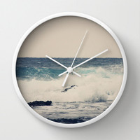 Art Wall Clock Ocean Blue Modern photography home decor grey gray tan Nautical photo Beach House wall art clock navy blue ocean sea wave