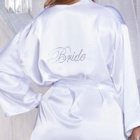 Plus Size White Satin Robe with Rhinestone Bride