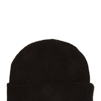 FOREVER 21 Ribbed Knit Beanie Black One